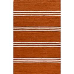 South Beach Indoor/Outdoor Orange Stripes Rug (8' x 10')