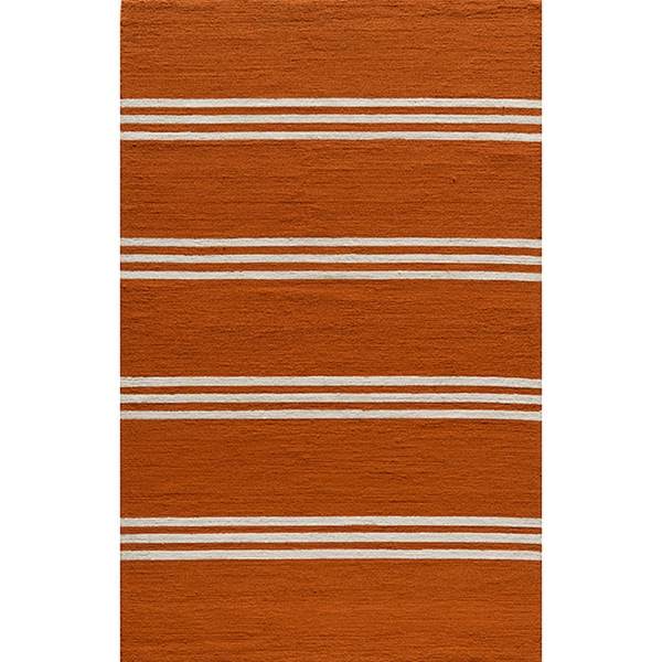 South Beach Indoor/Outdoor Orange Stripes Rug (8' x 10')