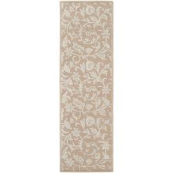 Hand-tufted Beige Sena New Zealand Wool Rug (2'6 x 8')
