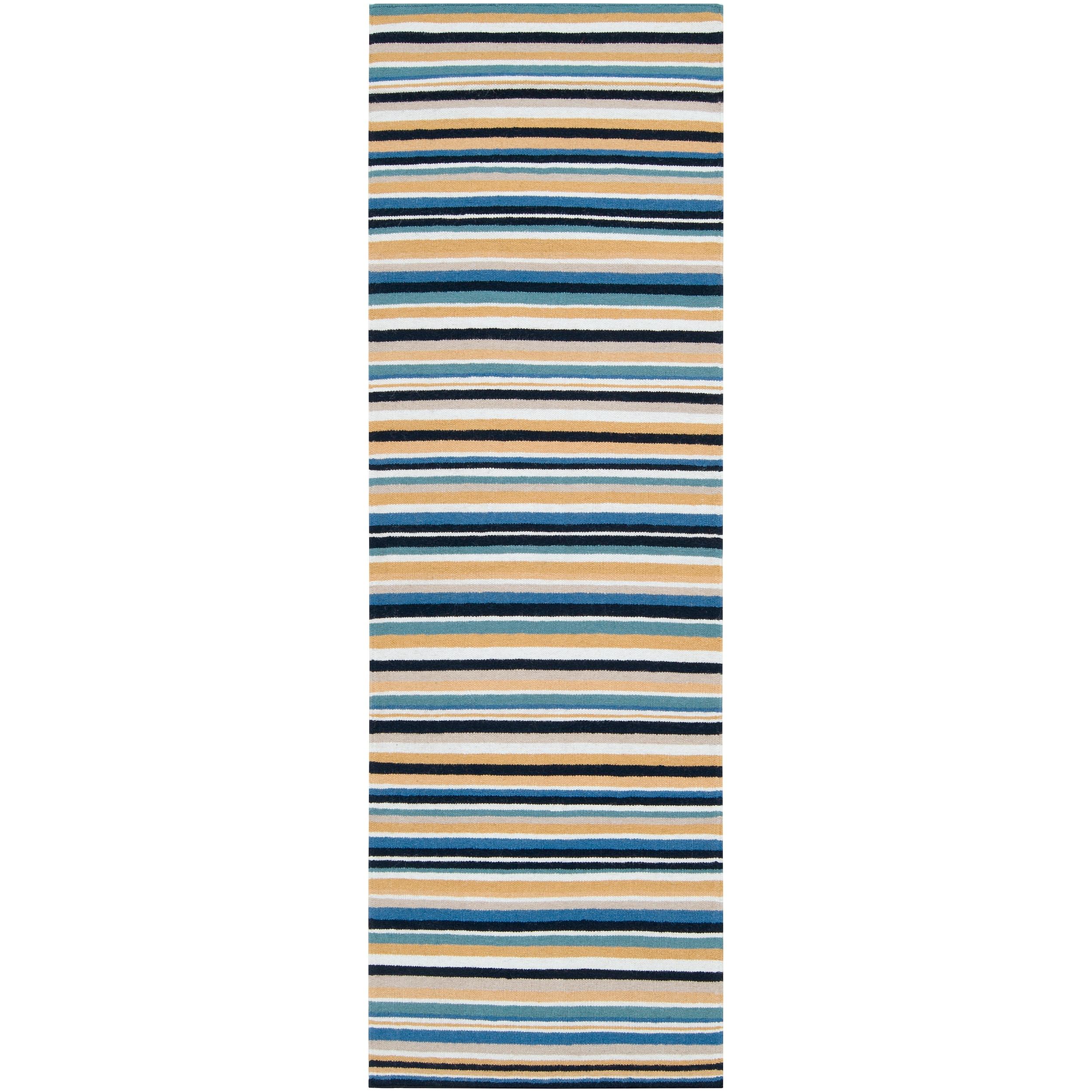 Hand-woven Blue Arroyo Wool Rug (2'6 x 8')