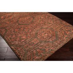 Hand-woven Orange Tarvo Classic Floral Hemp Rug (3'3 x 5'3) - Thumbnail 1
