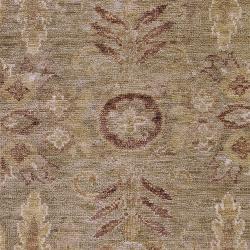 Hand-woven Green Tipuani Traditional Border Hemp Rug (3'3 x 5'3)