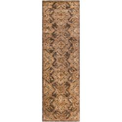 Hand-woven Brown Boopi Traditional Border Hemp Rug (2'6 x 8')