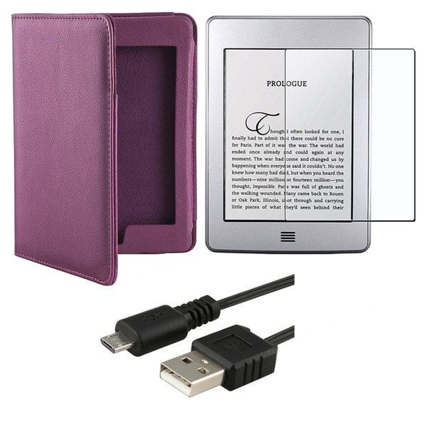 INSTEN Purple Leather Case Cover/ LCD Protector/ USB Cable for Amazon Kindle Touch