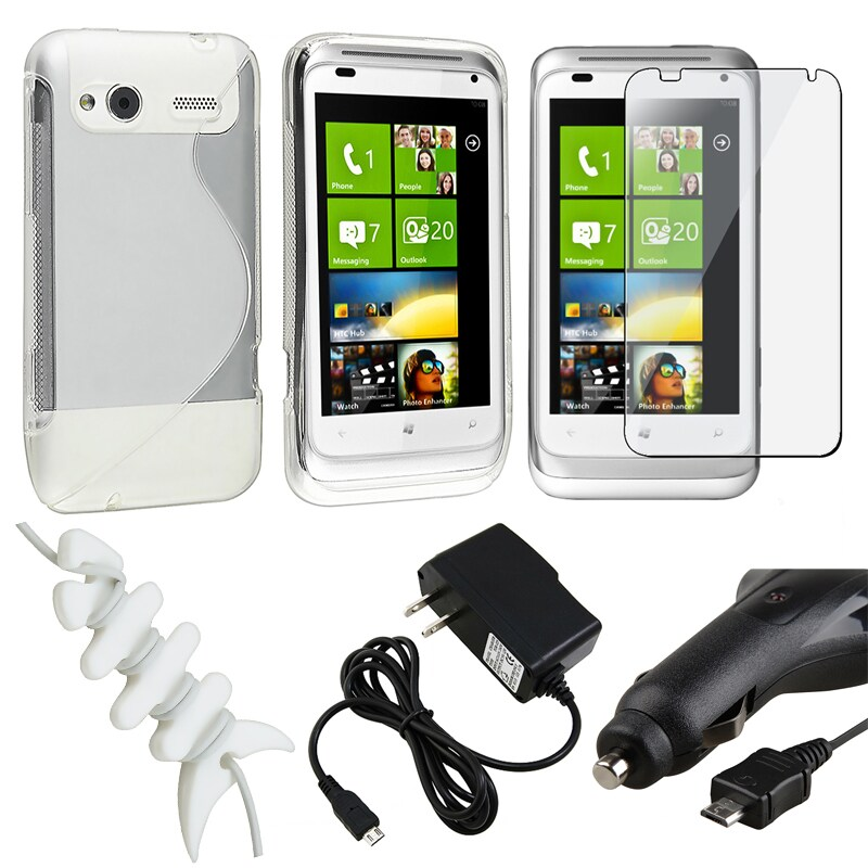 White Case/ LCD Protector/ Charger/ Wrap for HTC Radar 4G