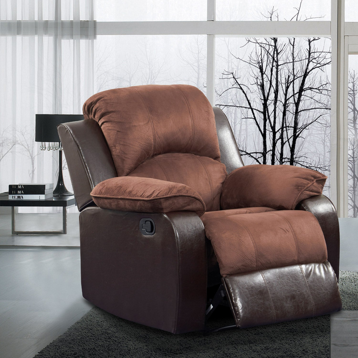 Pamela Two Tone Brown Microfiber Faux Leather Recliner Overstock 6584743