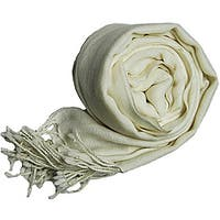 Peach Couture Women's Ivory Wool Scarf