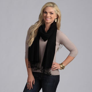 Peach Couture Women's Black Wool Scarf