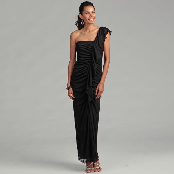 Onyx Nites Women's Black One-shoulder Shirred Gown
