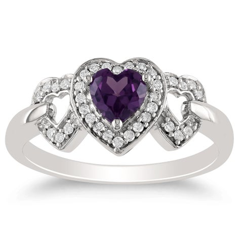 Miadora 10k White Gold Created Alexandrite and 1/8ct TDW Diamond Ring (H-I, I2)