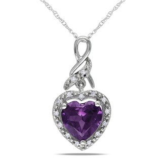 Miadora 10k White Gold Created Alexandrite and Diamond Accent Necklace