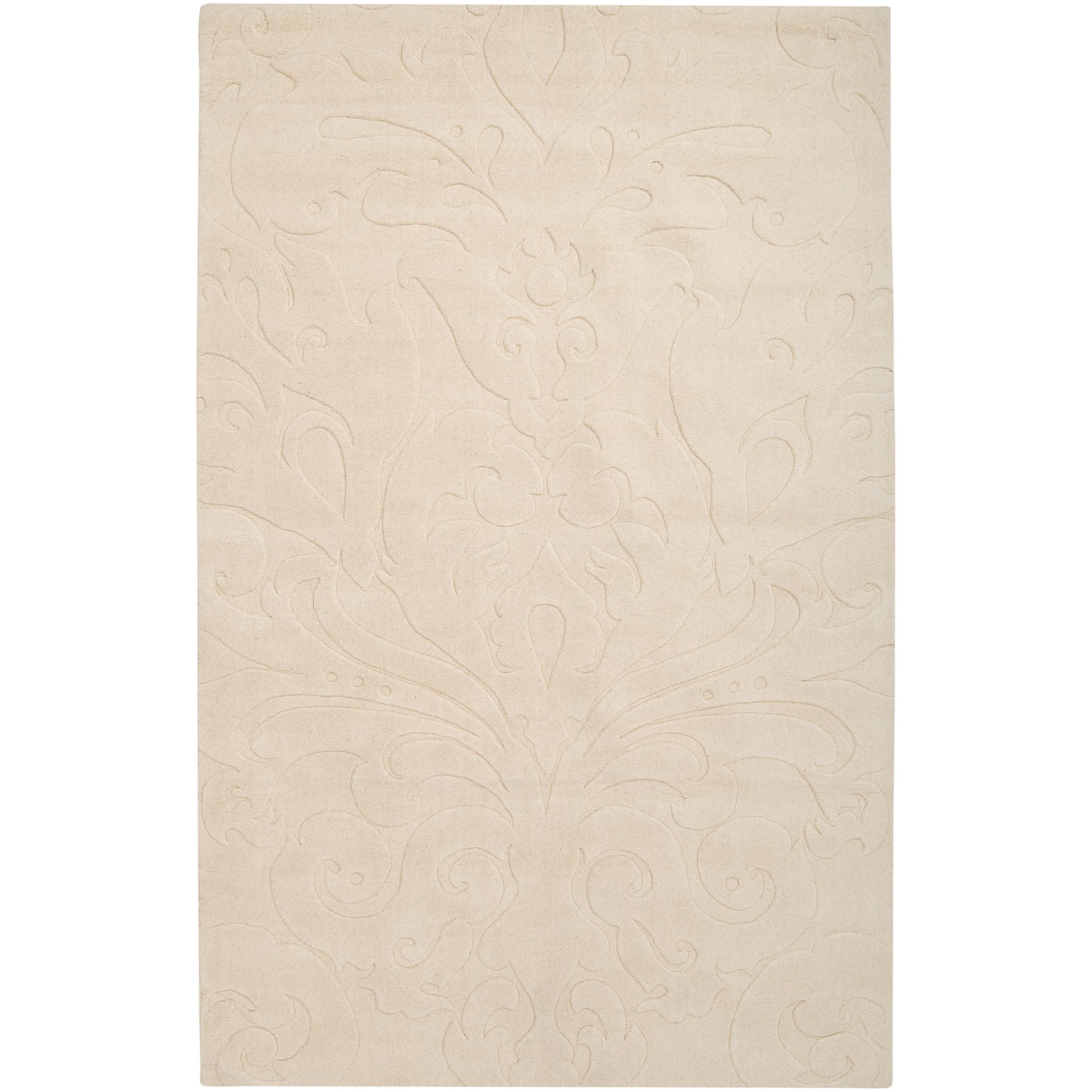 Candice Olson Loomed Ivory Vibora Damask Pattern Wool Rug (8' x 11')