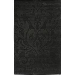 Loomed Grey Sacta Damask Pattern Wool Rug (9' x 13')