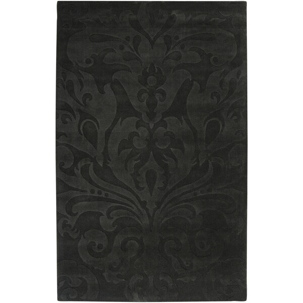 Loomed Grey Sacta Damask Pattern Wool Area Rug - 9' x 13'