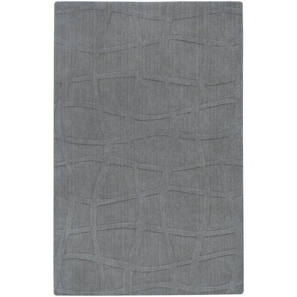 Loomed Gray Ichoa Abstract Plush Wool Area Rug - 9' x 13'