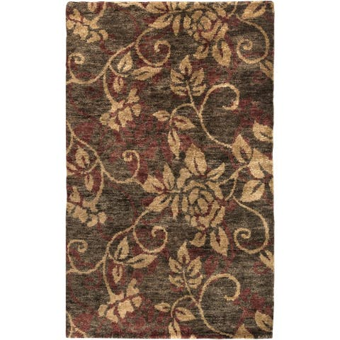 "Hand-woven Gray Curico Classic Floral Hemp Area Rug - 3'3"" x 5'3"""
