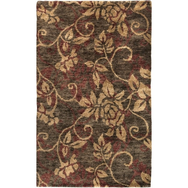 Hand-woven Gray Curico Classic Floral Hemp Area Rug - 3'3 x 5'3
