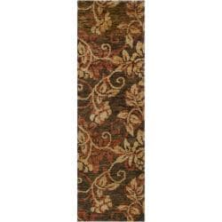 Hand-woven Gray Curico Classic Floral Hemp Rug (2'6 x 8')