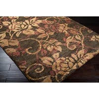 Hand-woven Gray Curico Classic Floral Hemp Area Rug - 2'6 x 8'