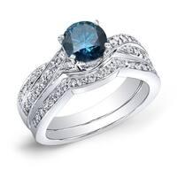 Auriya 14k Gold 3/4ct TDW Twisted Blue and White Diamond Engagement Ring Bridal Ring Set