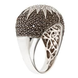 D'Yach 14k White Gold 1 3/5ct TDW Black Diamond Cocktail Ring - Thumbnail 1