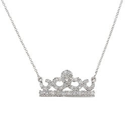 Victoria Kay Sterling Silver Diamond Crown Necklace