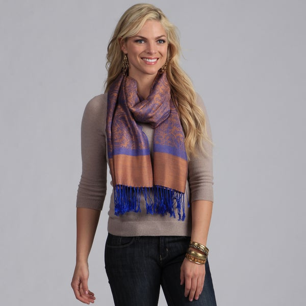 Shop Women's Blue And Gold Jacquard Shawl Wrap