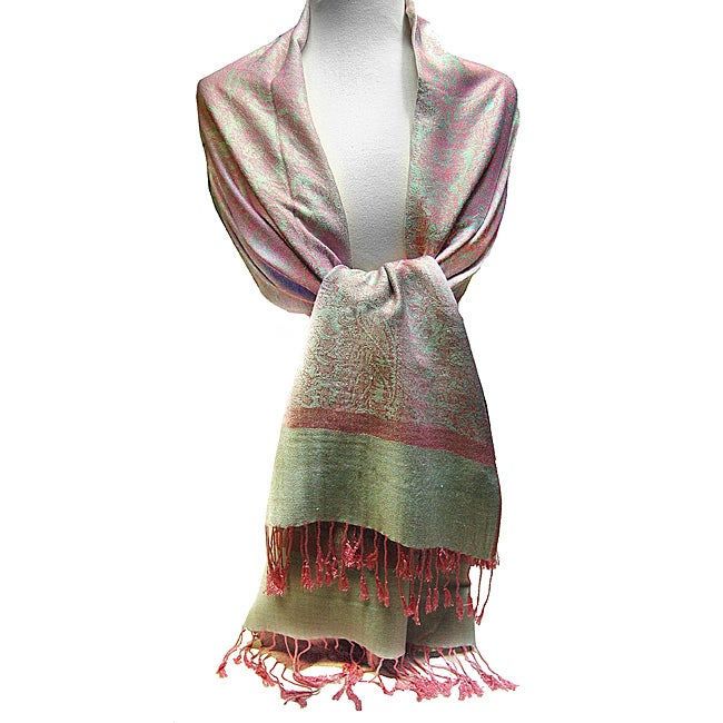 Women's Pink and Green Jacquard Shawl Wrap