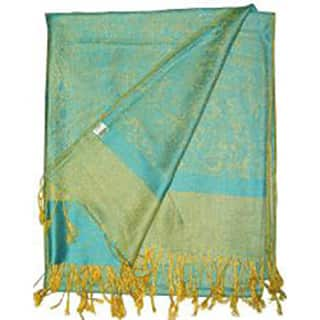 Women's Turquoise and Gold Jacquard Shawl Wrap https://ak1.ostkcdn.com/images/products/6585098/P14159021.jpg?impolicy=medium