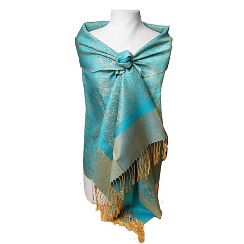 Women's Turquoise and Gold Jacquard Shawl Wrap