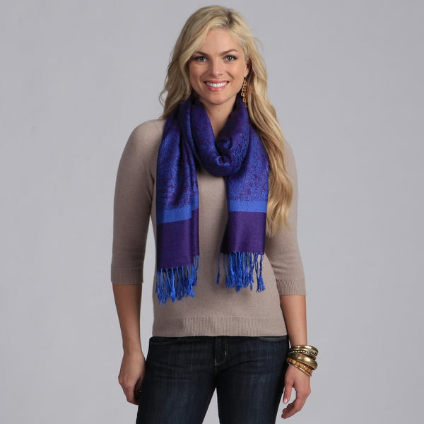 Women's Purple and Blue Jacquard Shawl Wrap