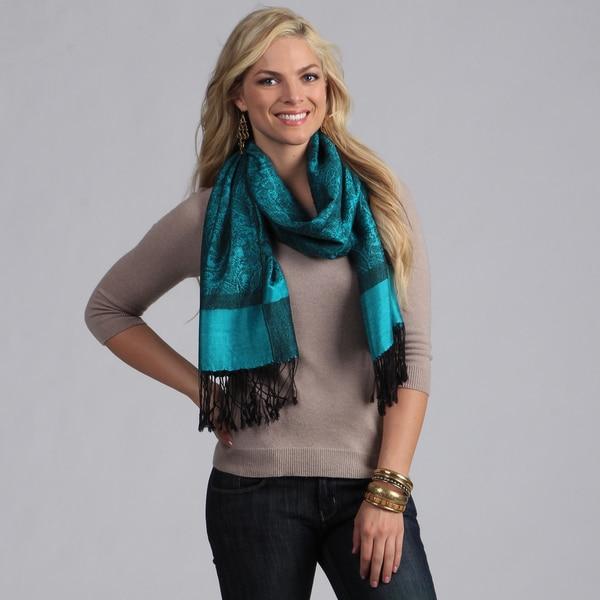 Women's Blue and Black Jacquard Shawl Wrap