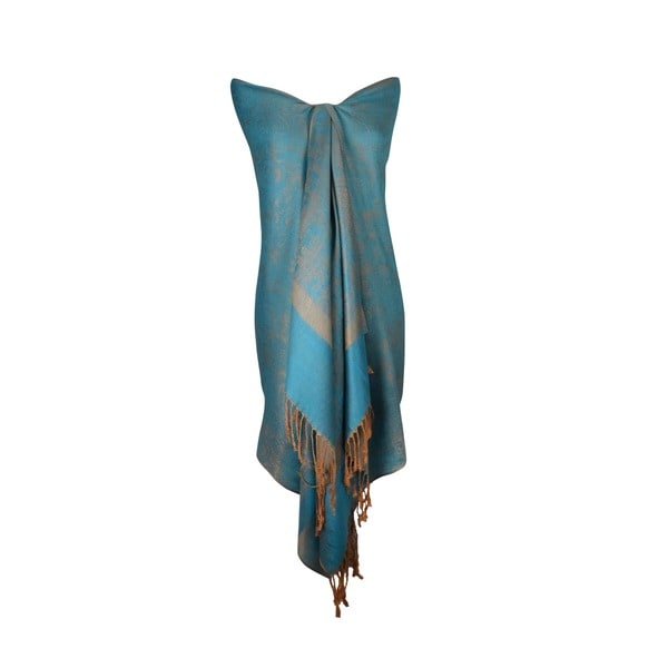 Women's Light Blue and Gold Shawl Wrap