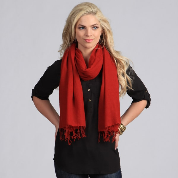 Peach Courture Red Wool Shawl