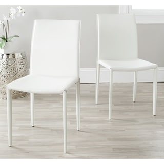 Safavieh Mid Century Dining Jazzy Bonded Leather White Dining Chairs (Set  Of 2)
