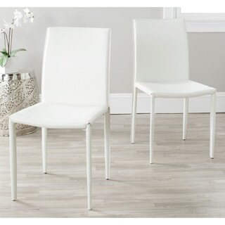 Safavieh Mid-Century Dining Jazzy Bonded Leather White Dining Chairs (Set of 2)