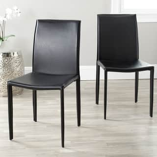 Safavieh Mid-Century Dining Jazzy Bonded Leather Black Dining Chairs (Set of 2)|https://ak1.ostkcdn.com/images/products/6585117/P14159043.jpeg?impolicy=medium