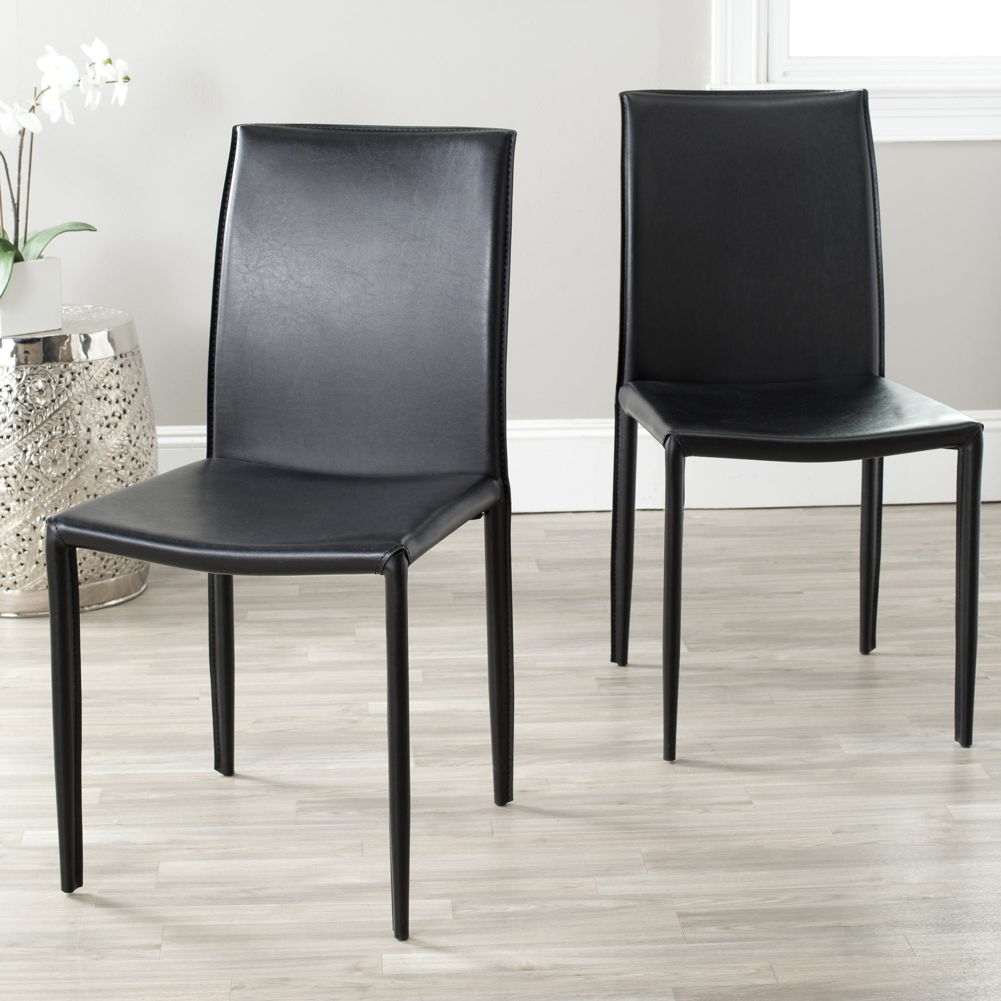 Super Safavieh Dining Mid Century Jazzy Bonded Leather Black Dining Chairs Set Of 2 Alphanode Cool Chair Designs And Ideas Alphanodeonline
