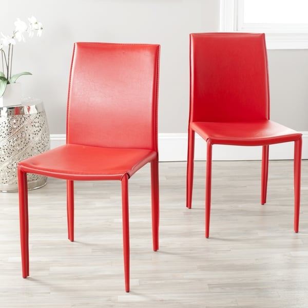 Safavieh Mid-Century Dining Jazzy Bonded Leather Red Dining Chairs (Set of 2)