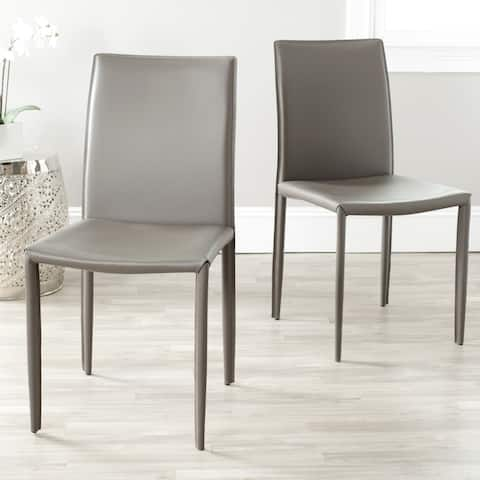 Safavieh Dining Mid-Century Jazzy Bonded Leather Grey Dining Chairs (Set of 2)