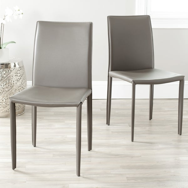 Safavieh Mid-Century Dining Jazzy Bonded Leather Grey Side Chairs (Set of 2)