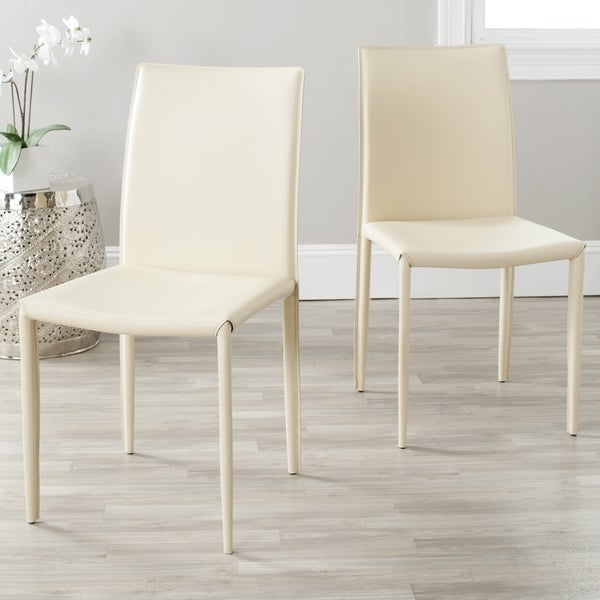 Safavieh Mid-Century Dining Jazzy Bonded Leather Cream Dining Chairs (Set of 2)