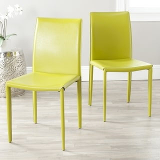 Safavieh Metropolitan Dining Jazzy Bonded Leather Green Dining Chairs (Set of 2)