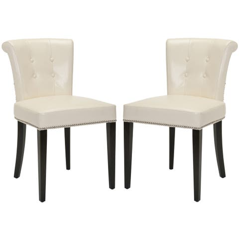 """Safavieh En Vogue Carrie Flat Cream Leather Dining Chair (Set of 2) - 19.5""""x24.2""""x33.4"""""""