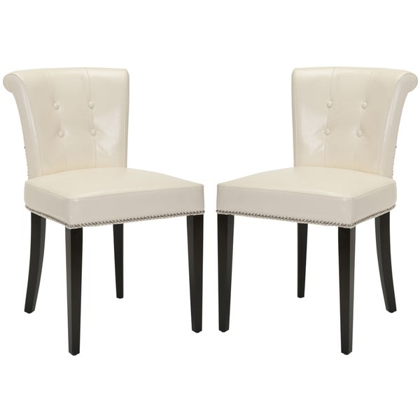 Safavieh En Vogue Carrie Flat Cream Leather Side Chair (Set of 2)