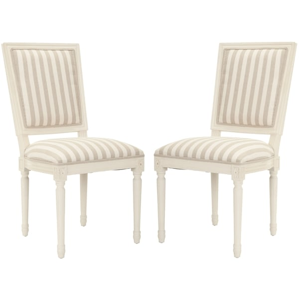 Safavieh Old World Dining Provincial Carved Stripe Cream/ Grey Dining Chairs (Set of 2)