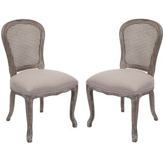 Safavieh Old World Dining Riveria Antiqued Oak Finish Taupe Side Chairs (Set of 2)