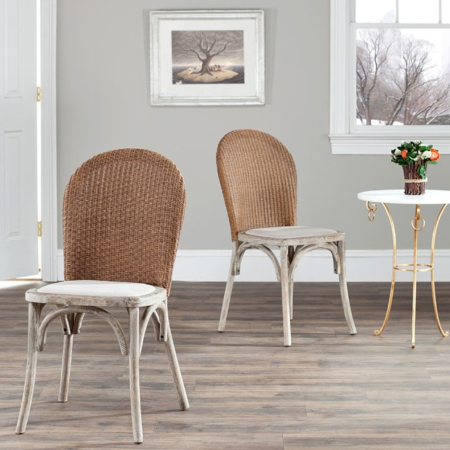 Safavieh Rural Woven Dining La Rochelle Antiqued Oak Finish Taupe Side Chairs (Set of 2)