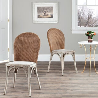 Safavieh Rural Woven Dining La Rochelle Antiqued Oak Finish Taupe Dining Chairs (Set of 2)