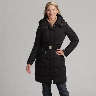 Nine West Women's Hooded Belted Coat